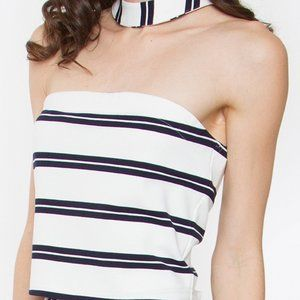 NWT Nordstrom Anise Navy Blue Stripped Choker Crop